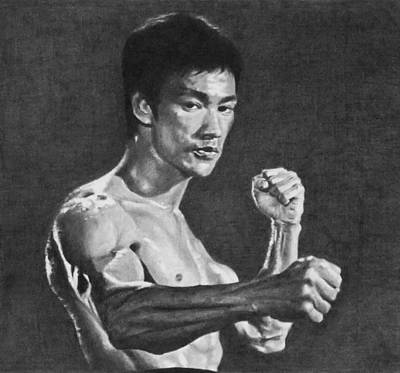 Kung Fu Drawing - Bruce Lee by Mike OConnell