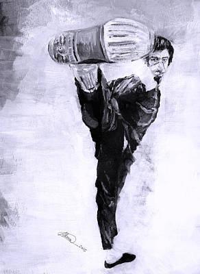 Kung Fu Drawing - Bruce Lee N2 by Alban Dizdari