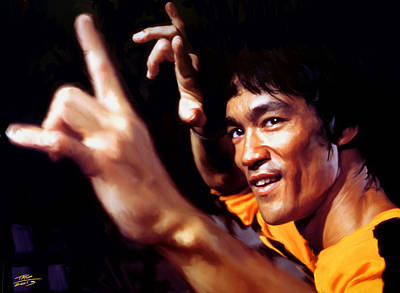 Kung Fu Digital Art - Bruce Lee by Paul Tagliamonte