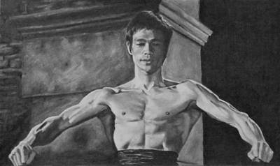 Kung Fu Drawing - Bruce Lee - Way Of The Dragon by Mike OConnell