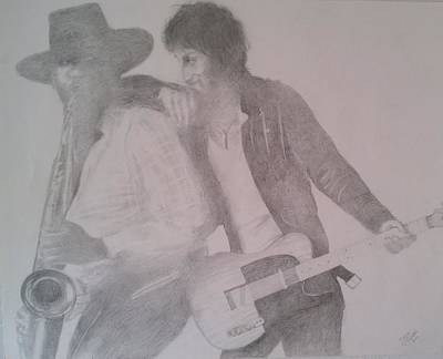 Bruce Springsteen Drawing - Bruce Springsteen And Clarence Clemons by Jami Cirotti
