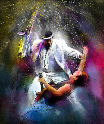 Bruce Springsteen And Clarence Clemons Art Print by Miki De Goodaboom