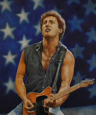 Bruce Springsteen Art Painting - Bruce Springsteen 'born In The Usa' by David Dunne