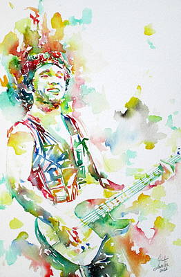 Concert Images Painting - Bruce Springsteen Playing The Guitar Watercolor Portrait.2 by Fabrizio Cassetta