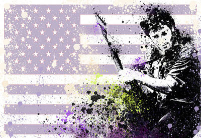 The Boss Digital Art - Bruce Springsteen Splats by Bekim Art