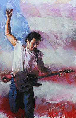 Musicians Mixed Media - Bruce Springsteen The Boss by Viola El