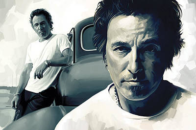 Musicians Mixed Media - Bruce Springsteen The Boss Artwork 1 by Sheraz A