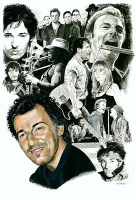 Musicians Mixed Media - Bruce Springsteen Through The Years by Ken Branch