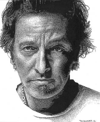 Superstar Drawing - Bruce Springsteen by Timothy Glasby