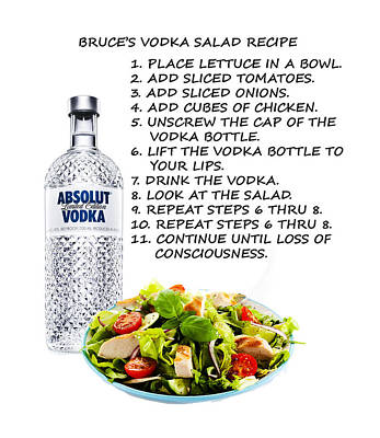 Uncle Sam Posters - Bruces Vodka Salad Recipe by Bruce Iorio