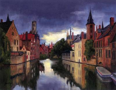 Painting - Bruges Belgium Canal by Janet King
