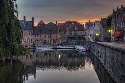 Landmarks Royalty Free Images - Bruges Canal Dawn Royalty-Free Image by Joan Carroll