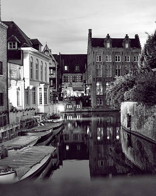 Bruges Canal In Black And White Art Print