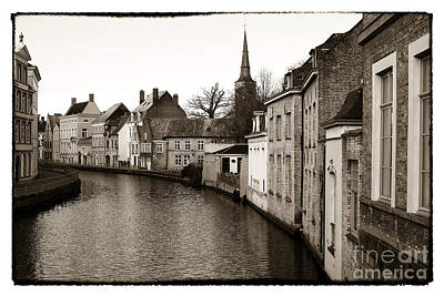 Old School House Photograph - Bruges Canal Scene Vii by John Rizzuto