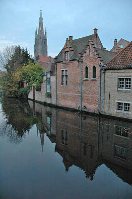 Reflection Photograph - Bruges Canal by Steven Richman