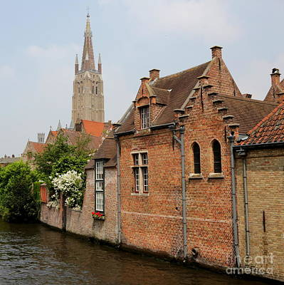 Bruges Houses With Bell Tower Art Print by Carol Groenen
