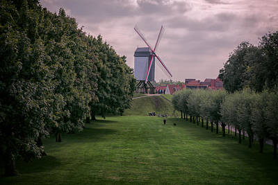 Belgium Photograph - Bruges Windmill by Joan Carroll