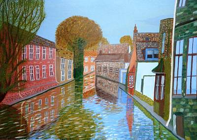 Art Print featuring the painting Brugge Canal by Magdalena Frohnsdorff