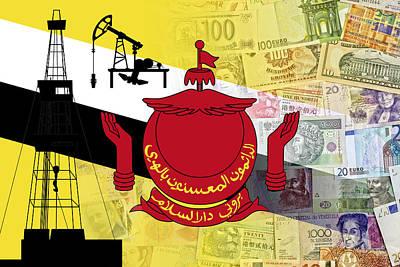 Islam Digital Art - Brunei Flag Collage by Daniel Hagerman