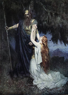 Norse Drawing - Brunhilde Knelt At His Feet, From The by Ferdinand Leeke