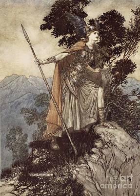 Norse Drawing - Brunnhilde From The Rhinegold And The Valkyrie by Arthur Rackham