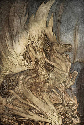 Valkyrie Drawing - Brunnhilde On Grane Leaps by Arthur Rackham