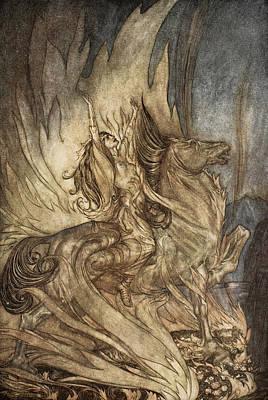 Legend Drawing - Brunnhilde On Grane Leaps by Arthur Rackham
