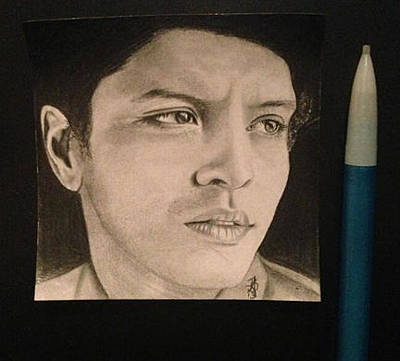 Drawing - Bruno Mars Post-it Drawing by Angelee Borrero