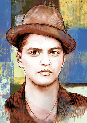 Bruno Mars - Stylised Drawing Art Poster Art Print by Kim Wang