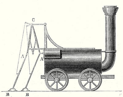 Crutch Drawing - Bruntons Locomotive With Crutches by English School