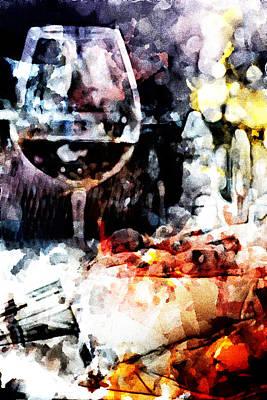 Bruschetta And Red Wine Art Print by Andrea Barbieri
