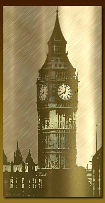 Brush Tone Big Ben Art Print by Debra     Vatalaro