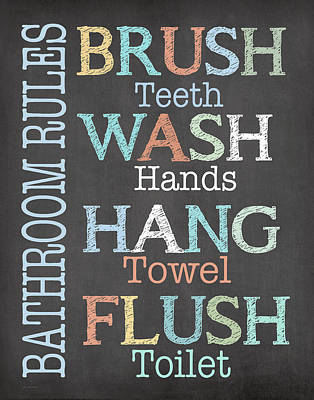Powder Room Sinks Painting - Brush Wash Flush by Jo Moulton
