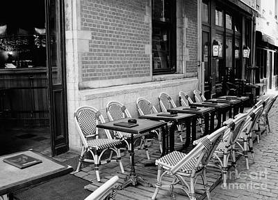 European Cafe Photograph - Brussels Cafe In Black And White by Carol Groenen