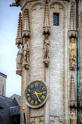 Photograph - Brussels Grand Place Clocktower by Deborah Smolinske