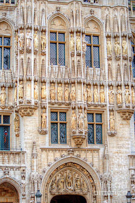 Ancient Photograph - Brussels Grand Place Facade by Deborah Smolinske
