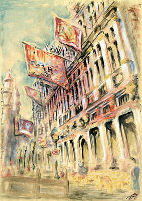 Painting - Brussels Grand Place - Watercolor by Art America Gallery Peter Potter
