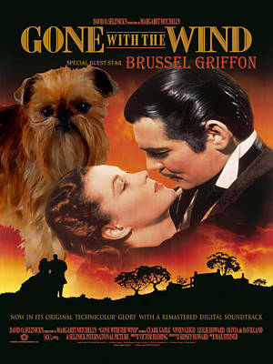 Brussels Griffon Art - Gone With The Wind Movie Poster Original