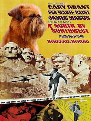 Brussels Griffon Art - North By Northwest Movie Poster Original