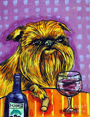 Griffon Wall Art - Painting - Brussels Griffon At The Wine Bar by Jay  Schmetz