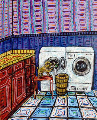 Laundry Painting - Brussels Griffon Doing The Laundry by Jay  Schmetz