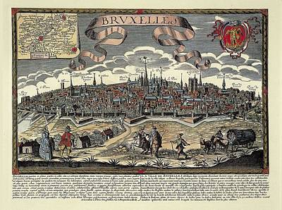 Brussels In 17th C. Engraving. � Art Print by Everett