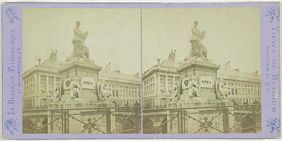 Brussels, The Funerary Monument In Martyrs Square Art Print