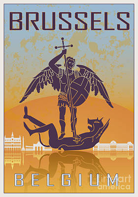 European City Digital Art - Brussels Vintage Poster  by Pablo Romero