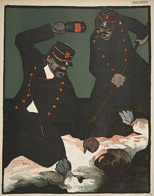 Satire Wall Art - Drawing - Brutality Of Policemen, Illustration by Georges d' Ostoya