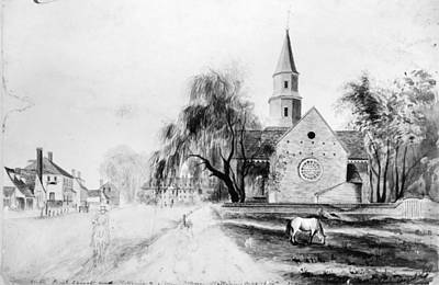 Colonial Williamsburg Painting - Bruton Parish Church, 1836 by Granger