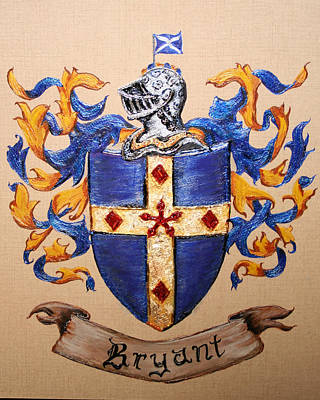 Lee Peterson Painting - Bryant Family Crest And Coat Of Arms by Nancy Rutland