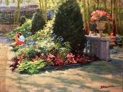 Bryant Park - Morning Light In The Garden Art Print by Peter Salwen