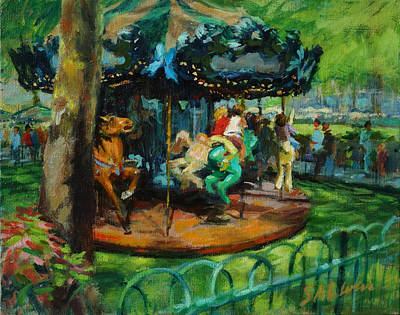 Bryant Park - The Carousel Art Print by Peter Salwen