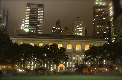Bryant Park In New York City At Night Art Print by Michael Dagostino